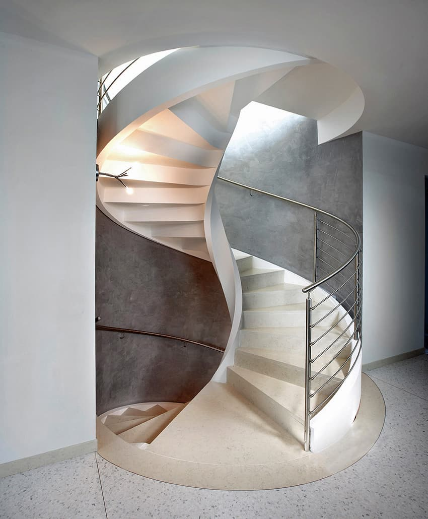 Spiral staircase in lightweight concrete by rizzi for Spiral stair design