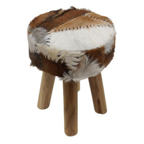 Goat Leather Stool Rona by Nuloom