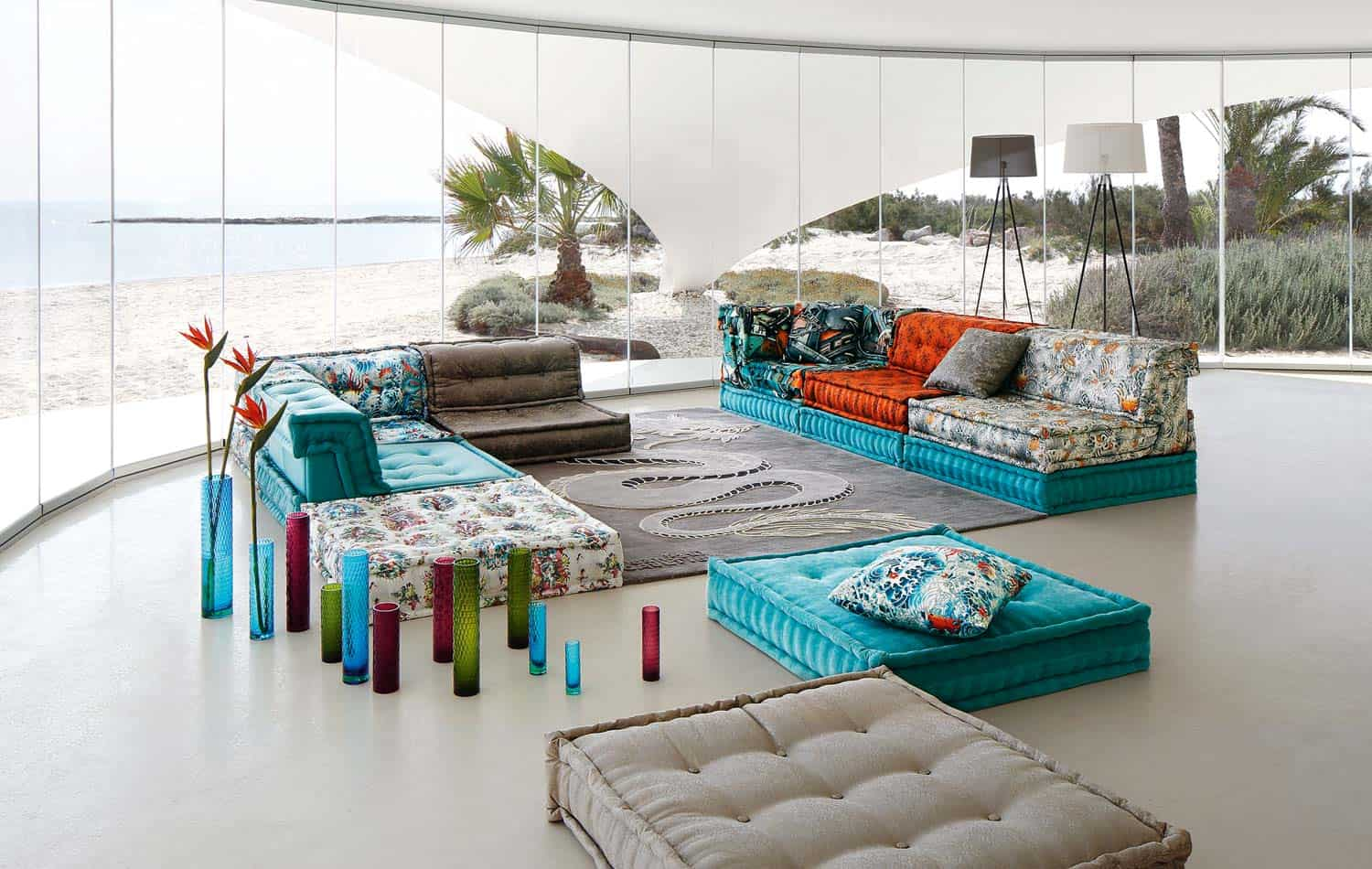 Roche bobois mah jong sofa in jean paul gaultier designed for Mah jong divano
