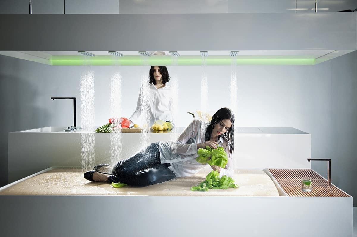 new museum installation showcases dornbracht horizontal shower. Black Bedroom Furniture Sets. Home Design Ideas