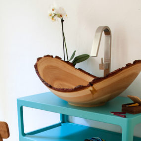 Larch Wood Washbasin by Slow Wood