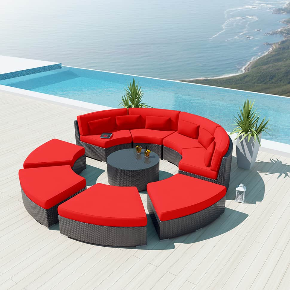 View In Gallery 9 Piece Round Outdoor Sectional Sofa Set Modavi