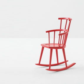 Red Rocker Chair by Billiani in Lacquered Wood