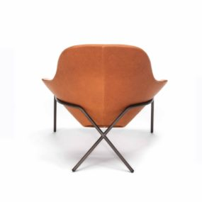 Comfortable Leather Lounge Chair – Cross Leg Chair by Magnus Long