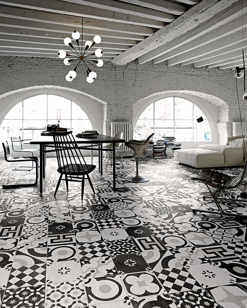modern art deco tiles from fioranese rock in black and white. Black Bedroom Furniture Sets. Home Design Ideas