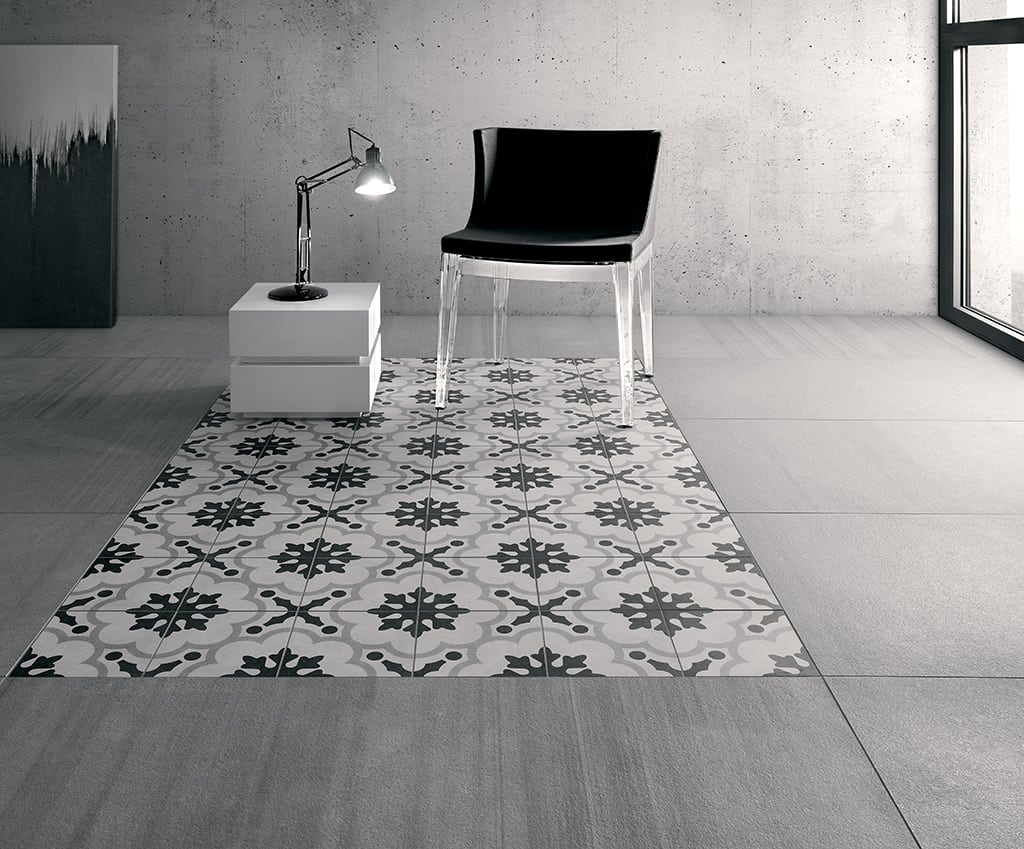 Modern art deco tiles from fioranese rock in black and white for Carrelage 20x20 beige