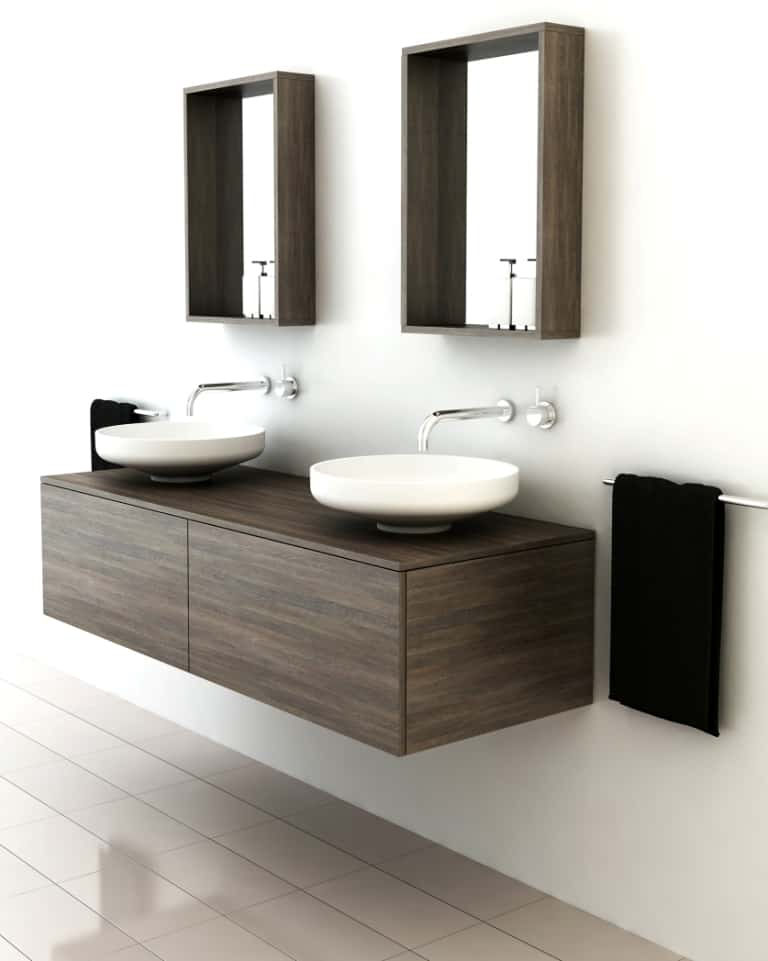Timber vanities with basins by omvivo a perfect fit for for Modern bathroom basins