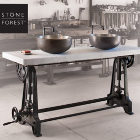 New Industrial Double Console by Stone Forest is Height Adjustable by Cranking Gears