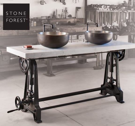 3 New Industrial Double Console By Stone Forest Is Height Adjustable By  Cranking Gears