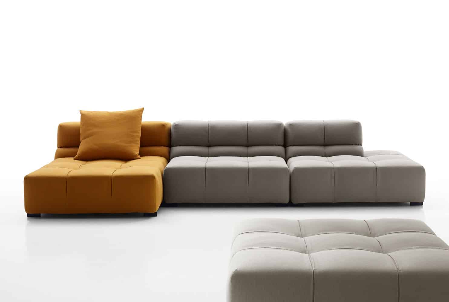 This trendy cubic sofa is a new addition to tufty time for B b couch