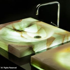 LED Lighted Onyx Sinks by Stone Forest