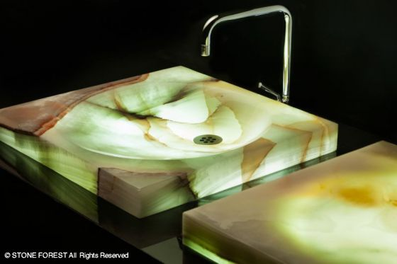 led lighted onyx sinks by stone forest 1