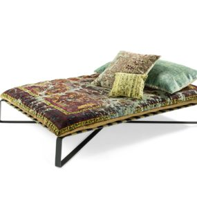 Divan Daybed in Oriental Style Upholstered with Silk Carpets: Daydreamer by Jan Kath