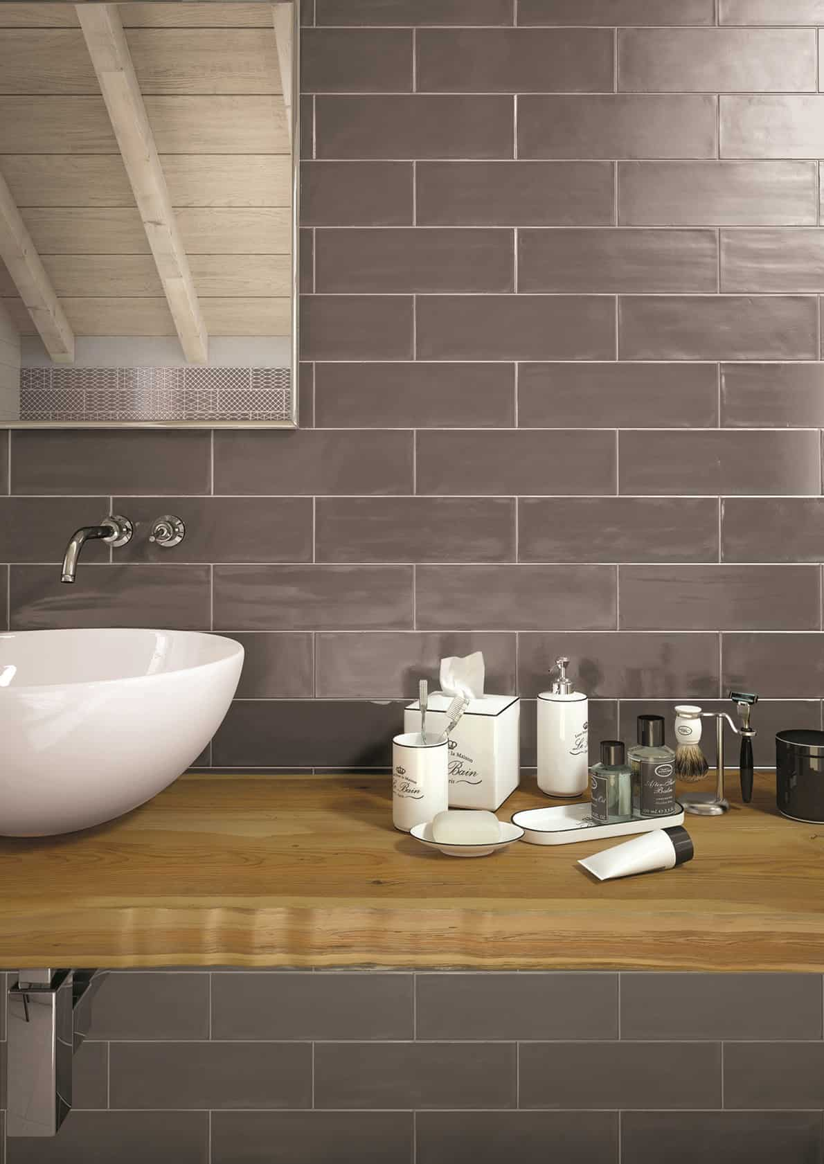 Tiling Walls In Brick Tile Pattern Is Easy With The New Glossy Brick By Ragno