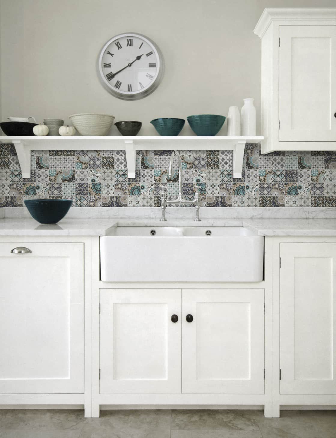 patchwork backsplash for country style kitchen ideas homestead by artistic tile. Black Bedroom Furniture Sets. Home Design Ideas