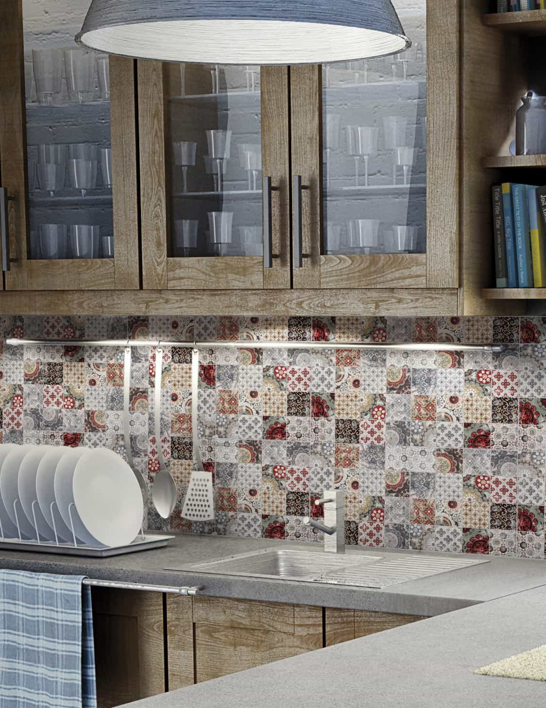 Patchwork Backsplash for Country Style Kitchen Ideas - Homestead by ...