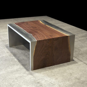 Steel and Wood Coffee Table by Johnhoushmand