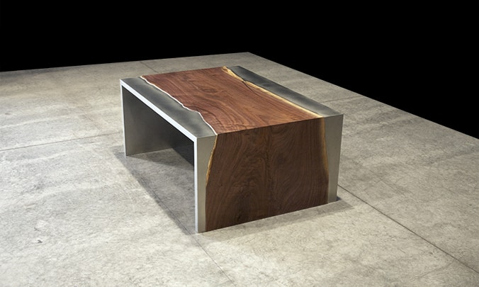 steel and wood coffee table by johnhoushmand. Black Bedroom Furniture Sets. Home Design Ideas