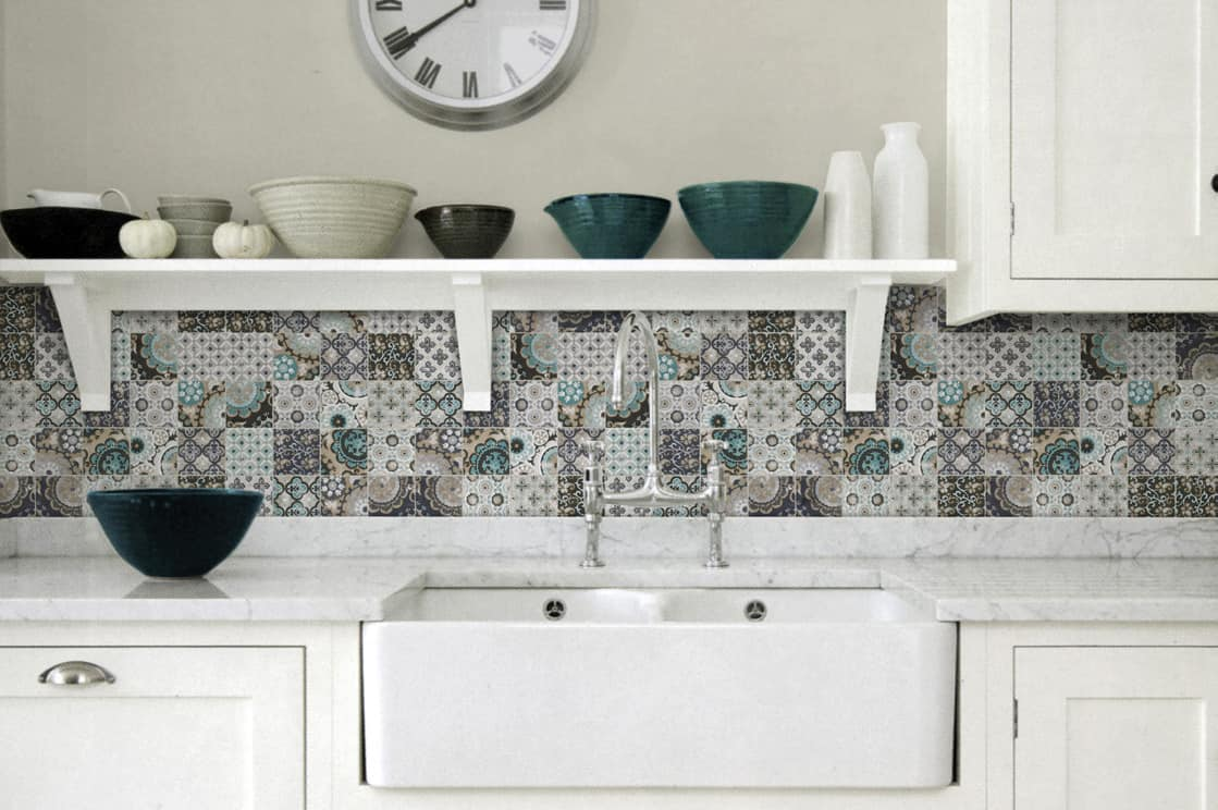 of examples with cabinets blue pattern beautiful kitchen inspired tiles moroccan floor tile