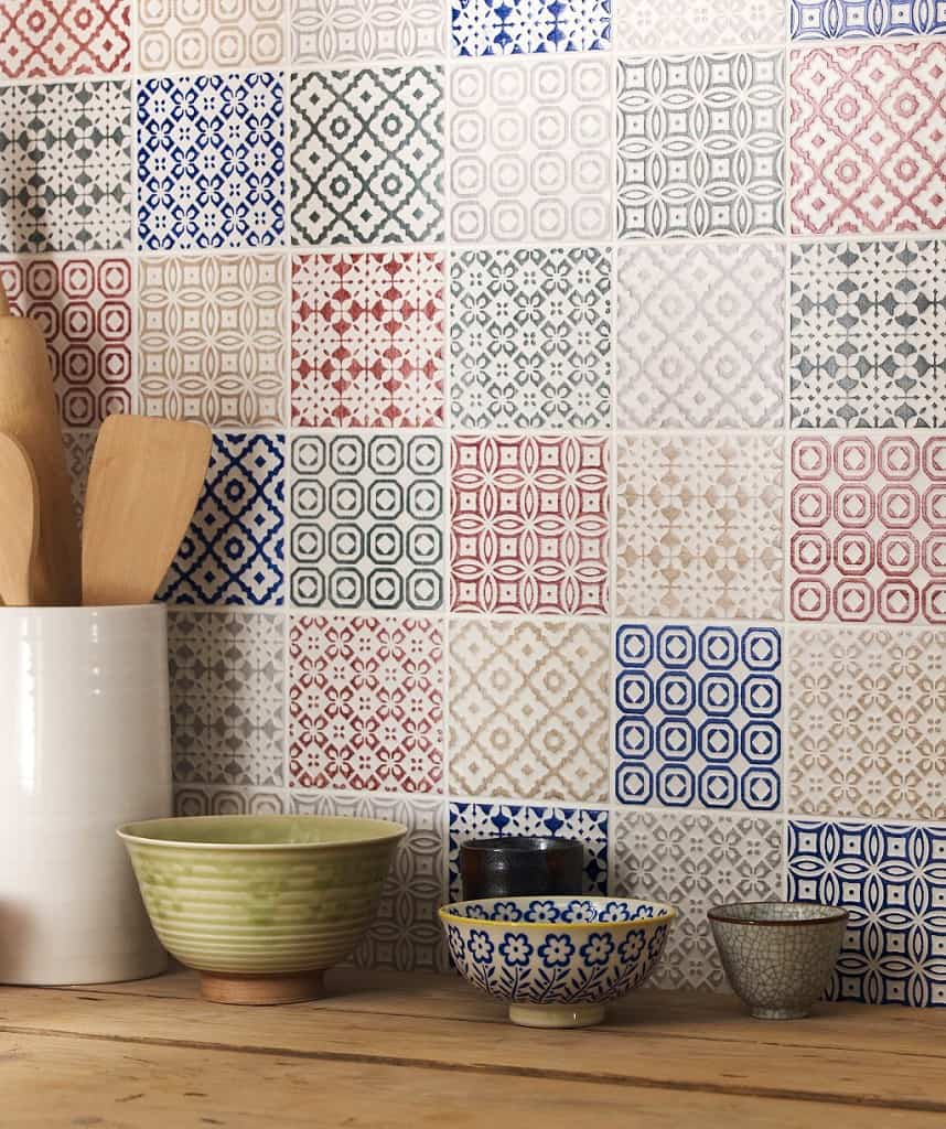 View In Gallery Batik Patchwork Tile Kitchen Backsplash Mix And Match.