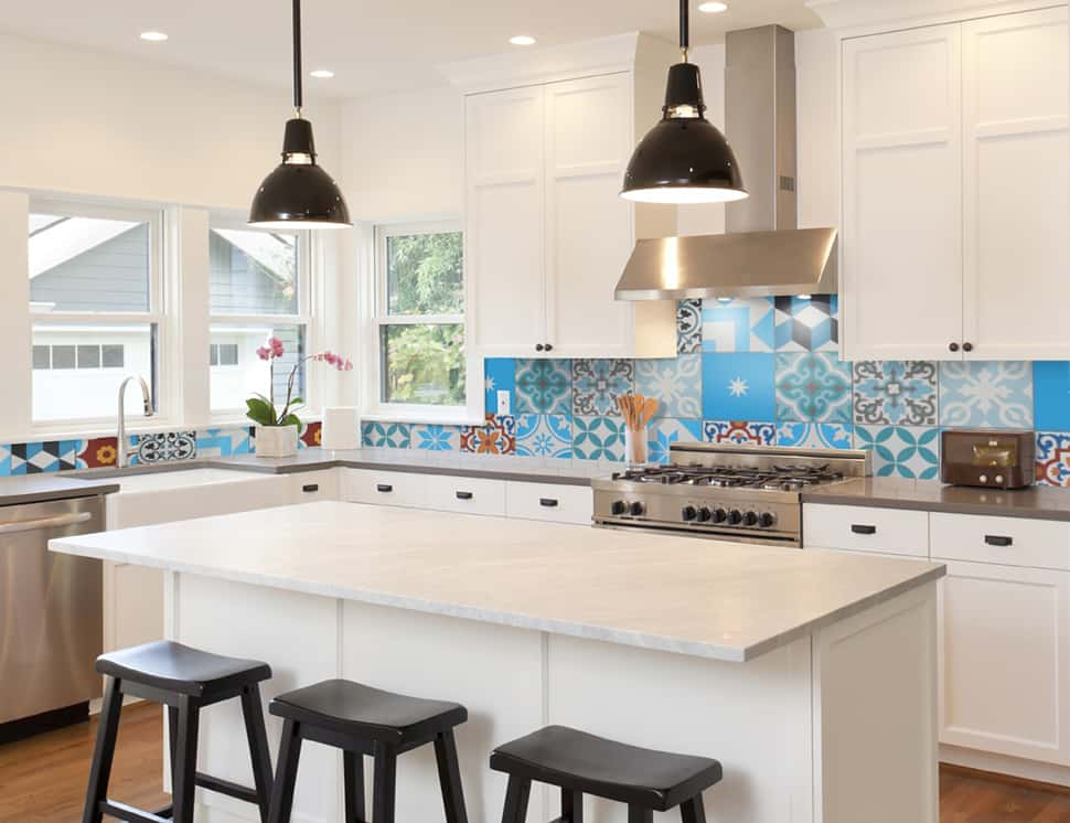 View In Gallery Cement Tile Shop Patchwork Backsplash Kitchen