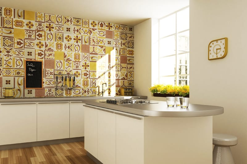 View In Gallery Fogazza Millennium Patchwork Giallo Kitchen Wall Jpg