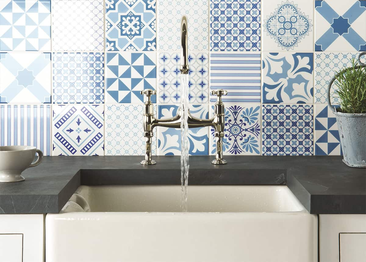 blue and white kitchen wall tiles top 15 patchwork tile backsplash designs for kitchen 9310
