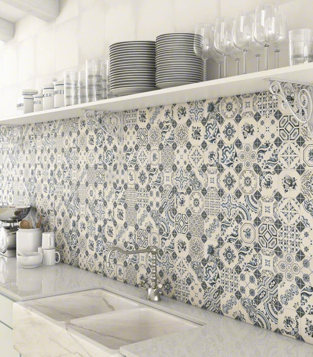 top 15 patchwork tile backsplash designs for kitchen. Black Bedroom Furniture Sets. Home Design Ideas