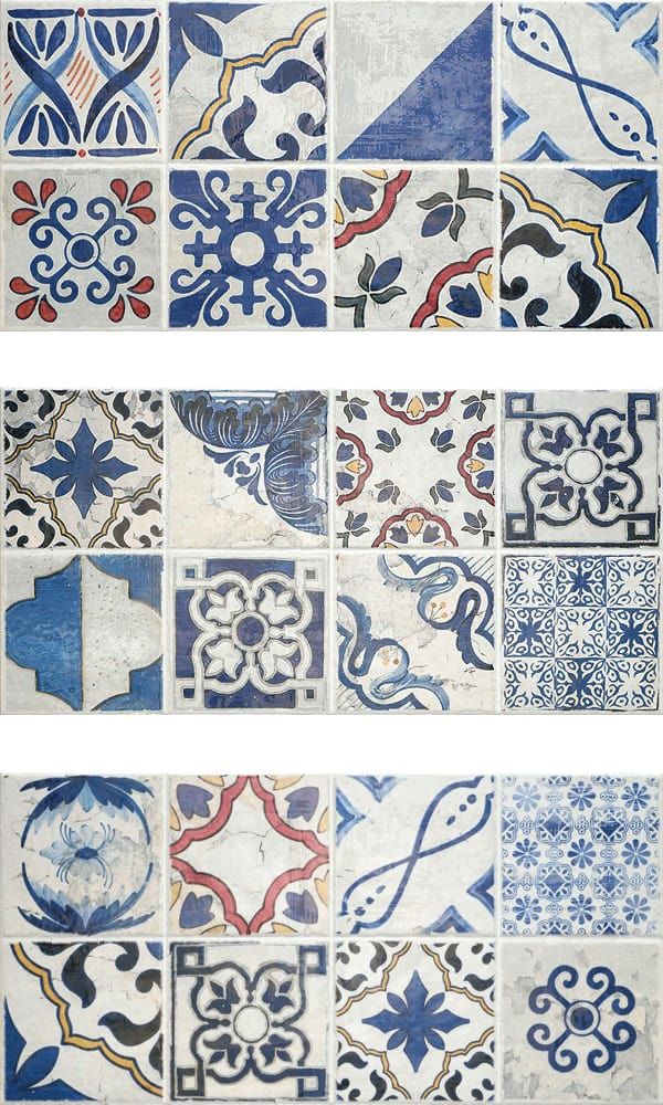 earthenware tile cement style patchwork patterns