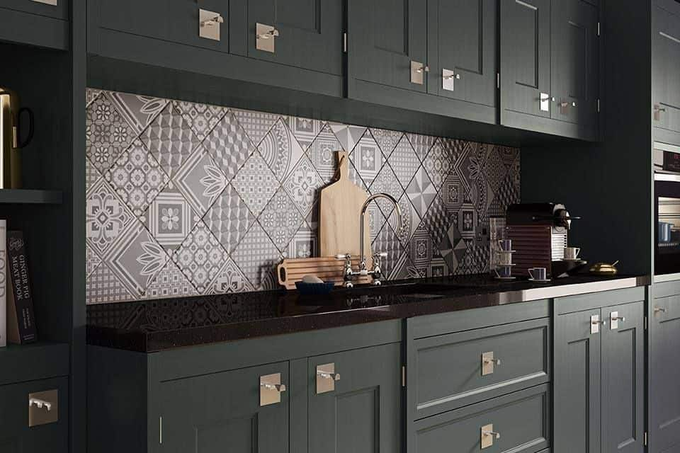 View In Gallery Ted Baker Geotile Patchwork Backsplash