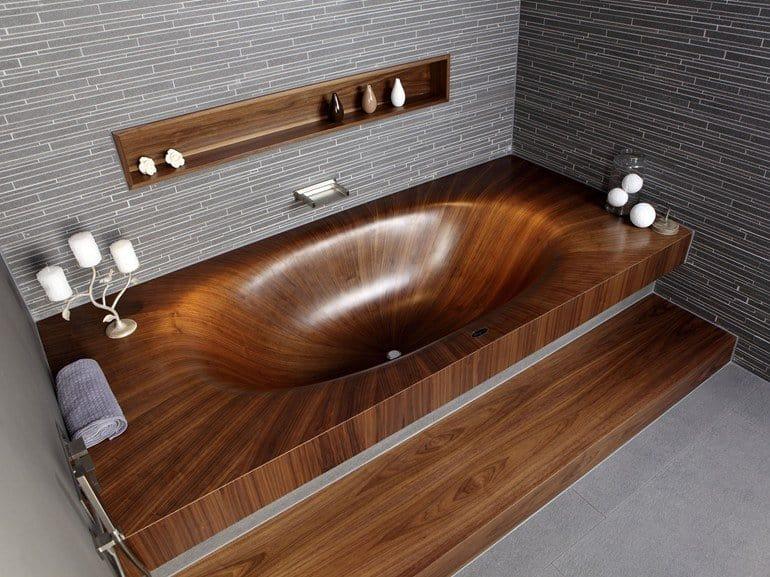 Nice View In Gallery Wooden Bathtub Alegna Laguna Basic Built In