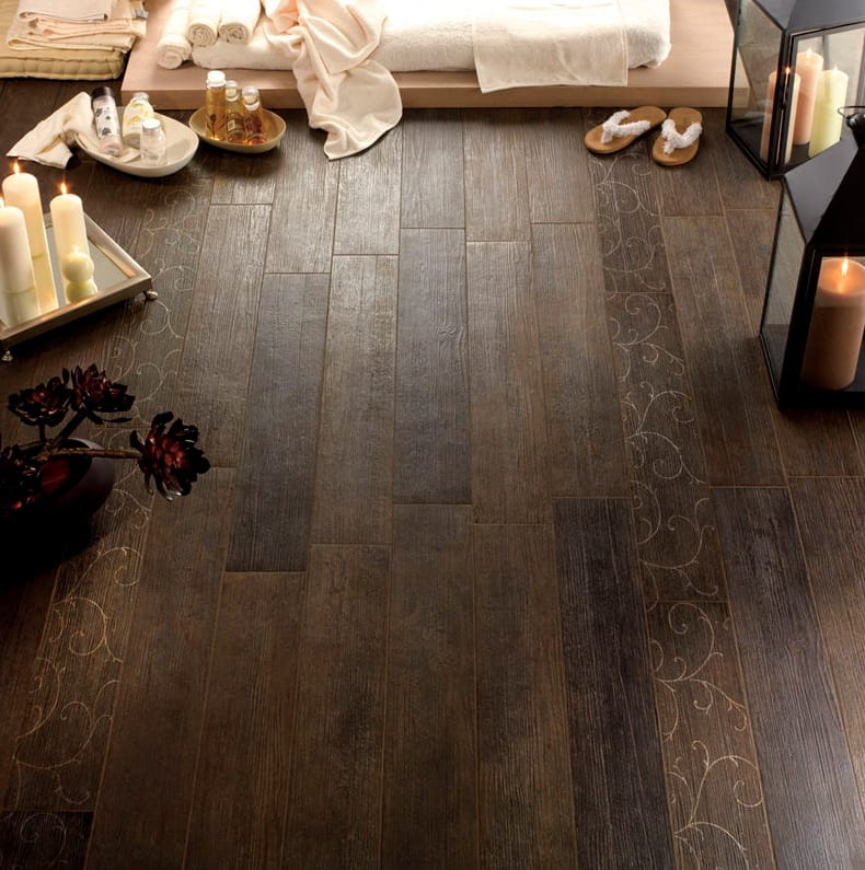 Wood tile flooring ideas Lowes View In Gallery Antiquewoodeffectceramictilesfondovallejpg Trendir Wood Look Tile 17 Distressed Rustic Modern Ideas