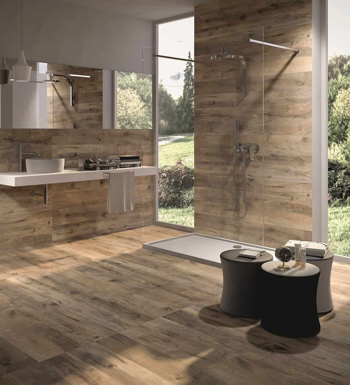 Wood look tile 17 distressed rustic modern ideas for Caillebotis bois pour salle de bain