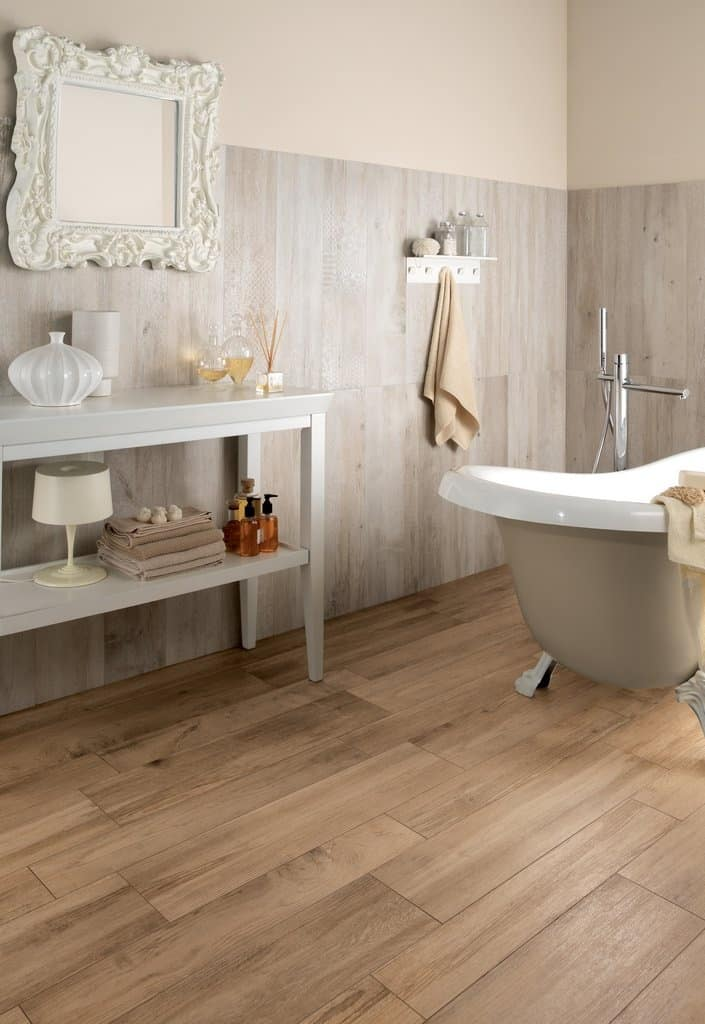Wood look tile 17 distressed rustic modern ideas for Bathroom ideas with wood floors