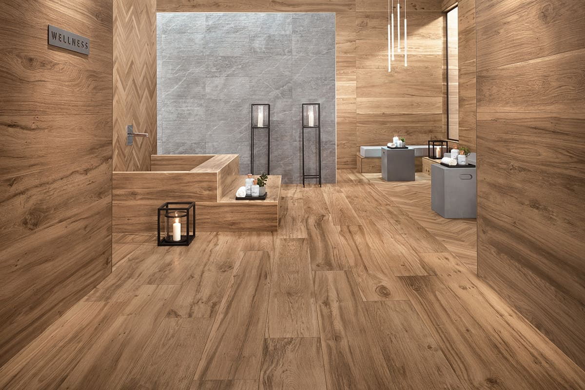 Wood look tile 17 distressed rustic modern ideas for Tile and hardwood floor
