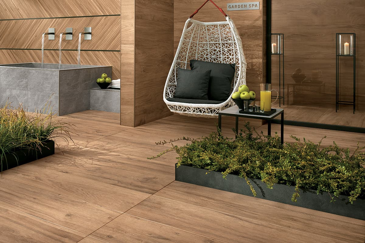 View In Gallery Wood Grain Porcelain Tile Patio Atlas Concorde Etic.