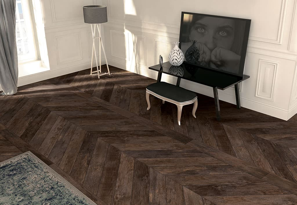 View In Gallery Chevron Parquet Look Porcelain Tile Mirage