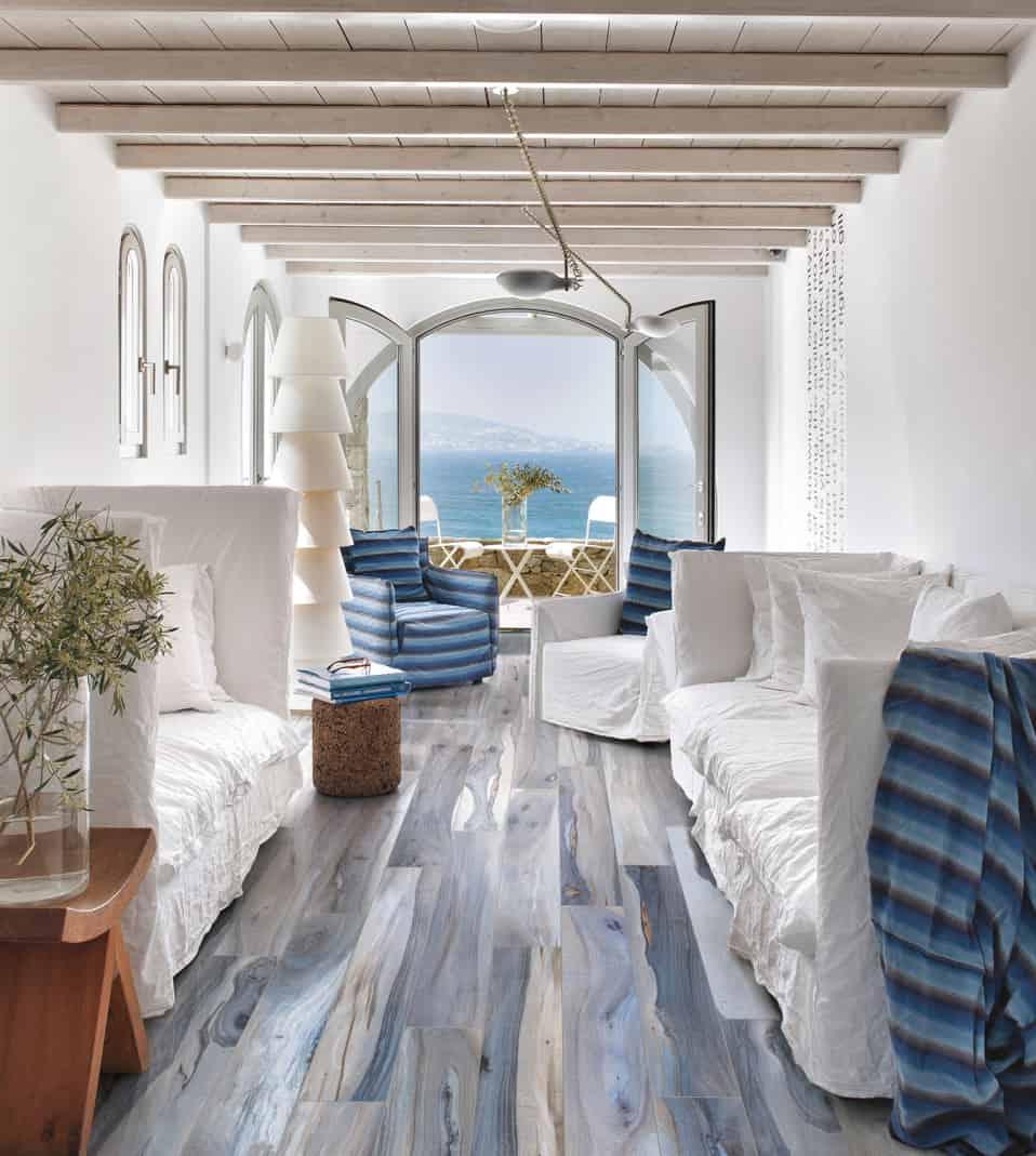 rustic living room tile floor designs | Wood Look Tile: 17 Distressed, Rustic, Modern Ideas
