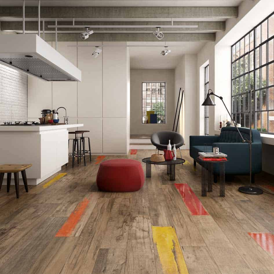 Wood look tile 17 distressed rustic modern ideas for Carrelage imitation parquet