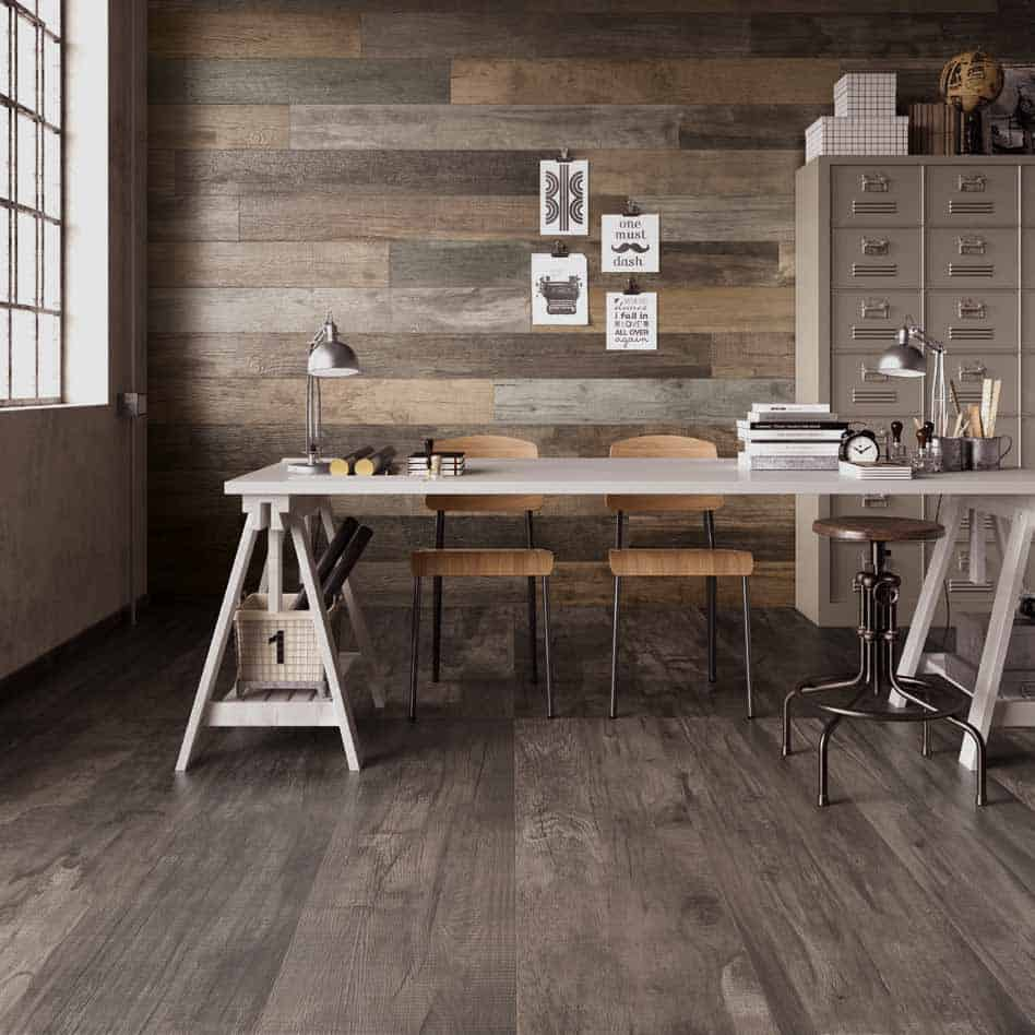 Wood look tile 17 distressed rustic modern ideas view in gallery weathered wood look porcelain tile office abkg doublecrazyfo Choice Image