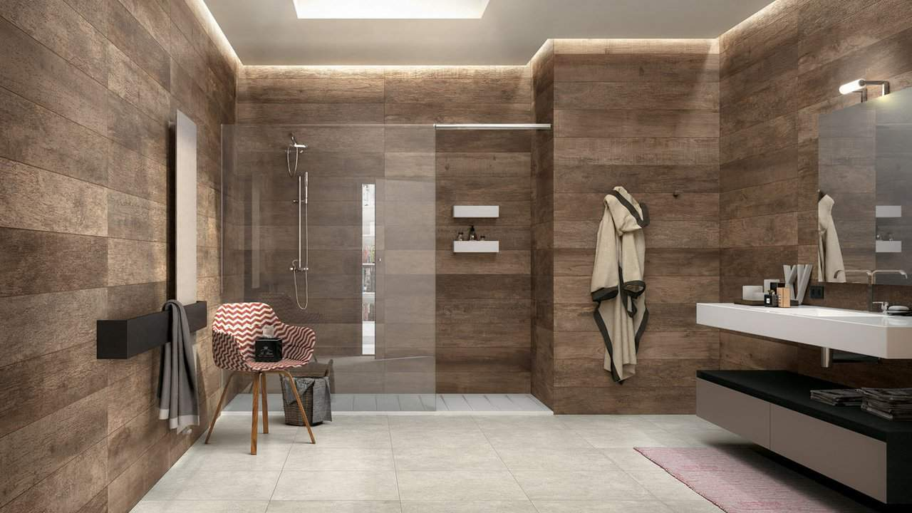 View In Gallery Wood Look Ceramic Tile Bathroom Idea Mirage