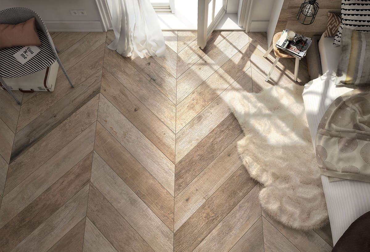 Wood look tile 17 distressed rustic modern ideas view in gallery wood style floor tile chevron parquet pattern mirage dailygadgetfo Images