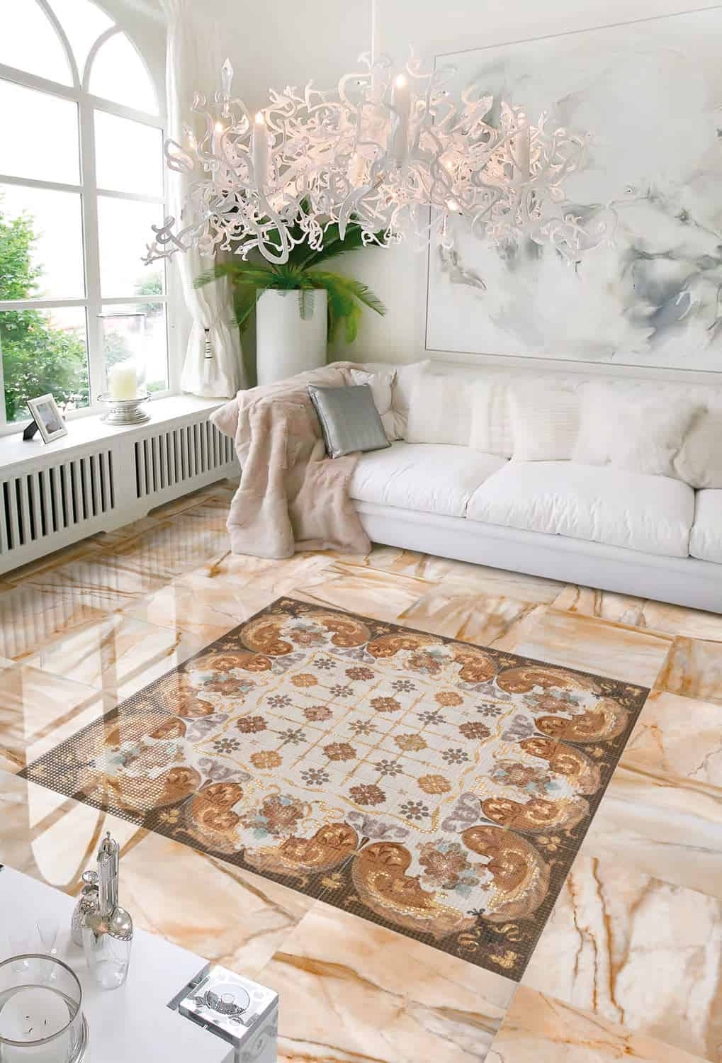 25 beautiful tile flooring ideas for living room kitchen and view in gallery ceramic tile rug auris peronda 1g dailygadgetfo Image collections