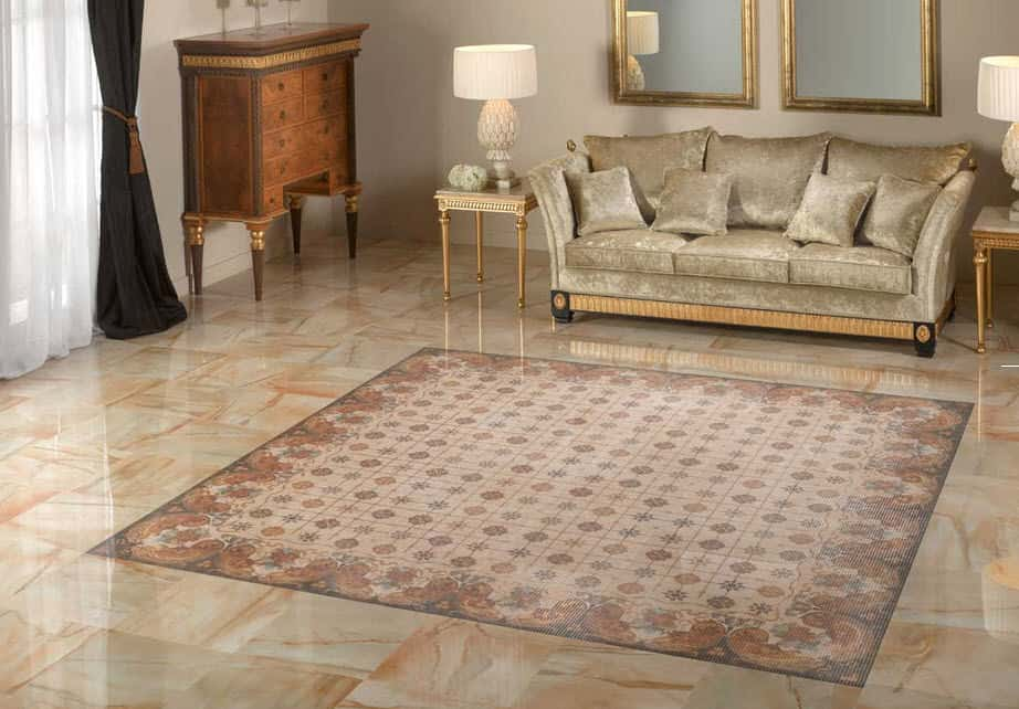 View in gallery ceramic tile rug auris peronda 2 jpg 25 Beautiful Tile Flooring Ideas for Living Room  Kitchen and