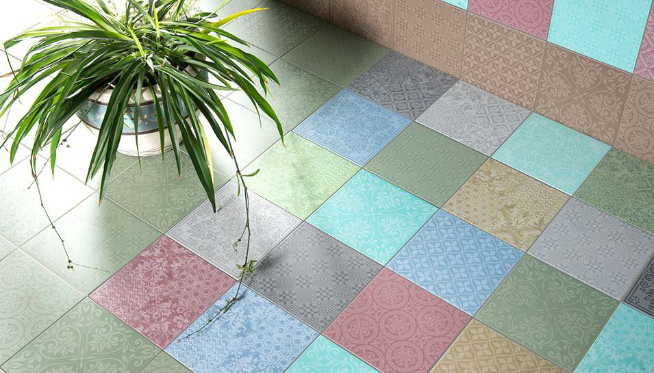 View In Gallery Flooring Tile Design Idea Fashionable Contemporary Patchwork Eco