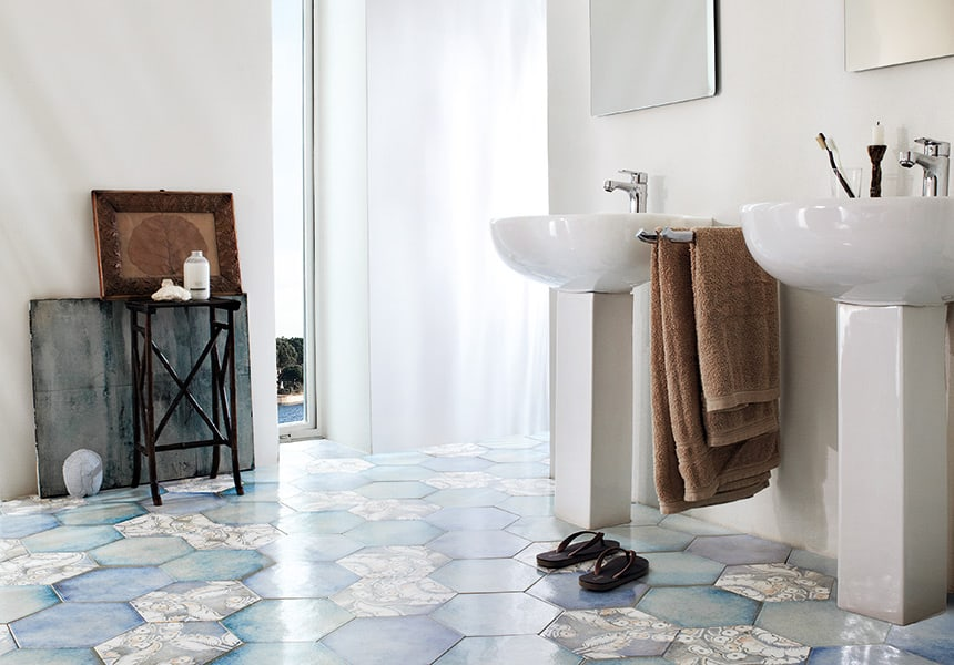 View In Gallery Hexagon Floor Tile Bathroom Lucia Verso25