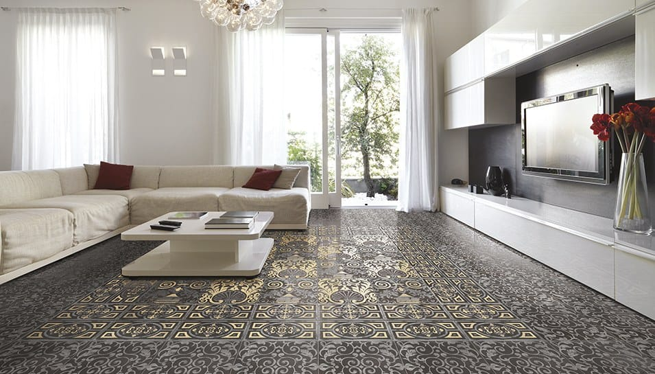 View in gallery living room flooring victorian look ceramic tile eco  25 Beautiful Tile Flooring Ideas for Living Room Kitchen and