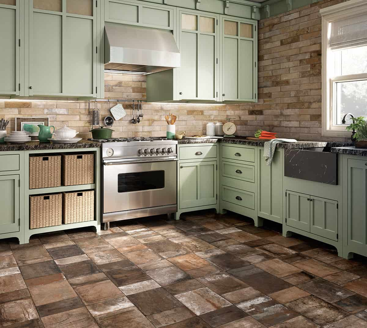 25 beautiful tile flooring ideas for living room kitchen for Kitchen flooring