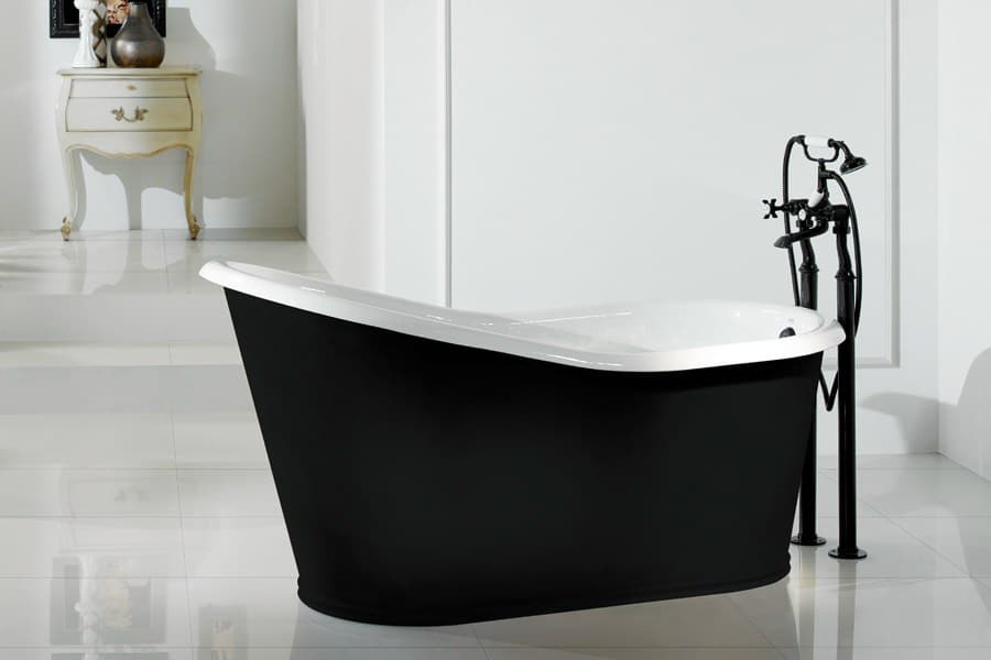 Black bathtubs for modern bathroom ideas with freestanding installation Bathroom design ideas with freestanding tub