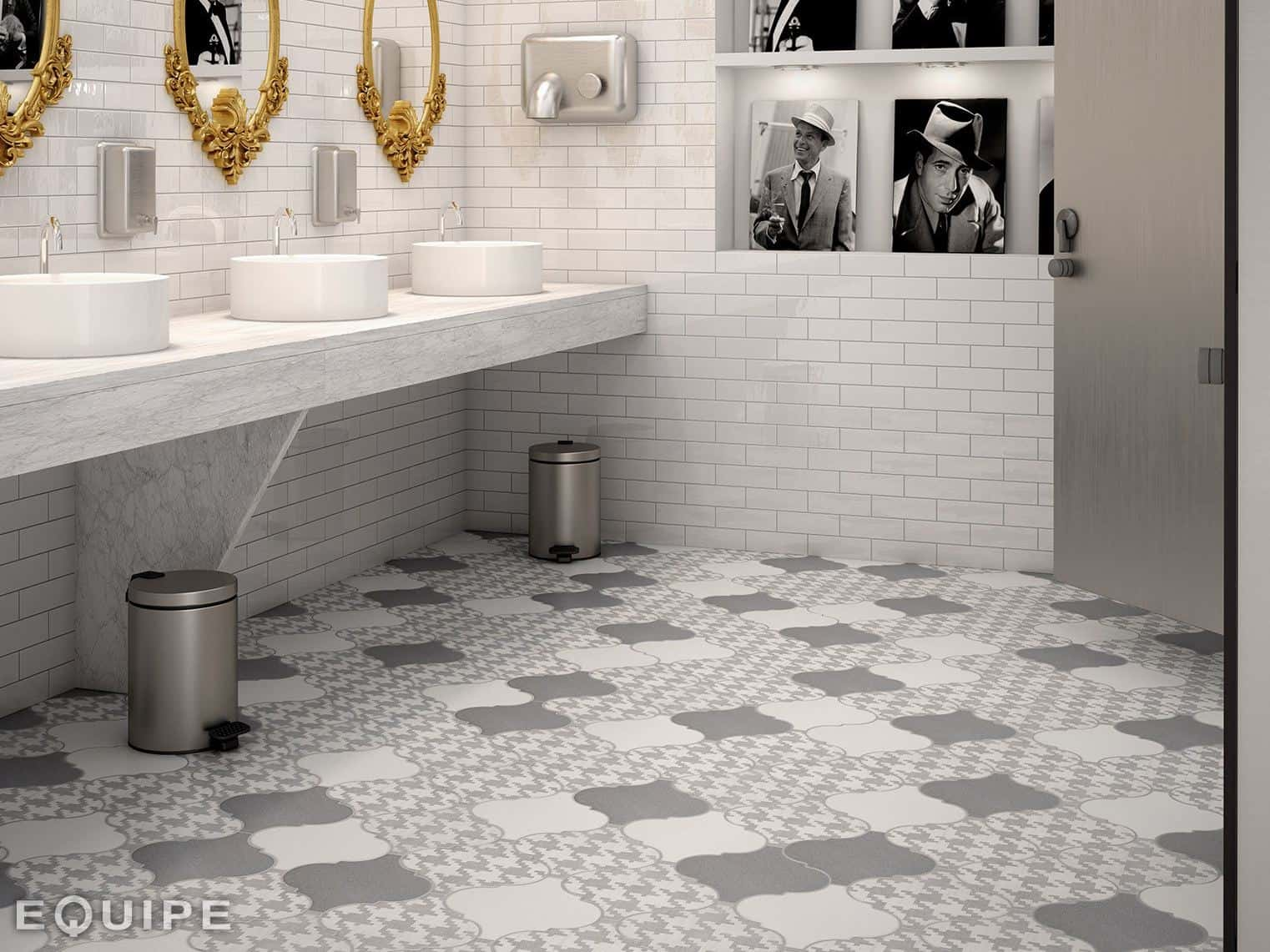 View In Gallery Arabesque Tile Floor Bathroom Grey White 8